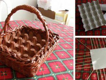 Osterkorb für Eier aus Altpapier und Pappe (keine Äste nötig)