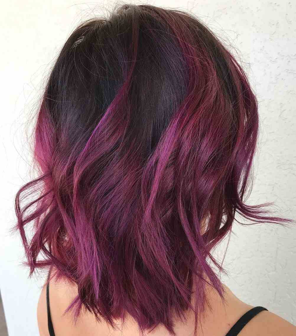 Balayage Rot auf schwarze Haare Burgunderrot Haarfarbe Nuancen