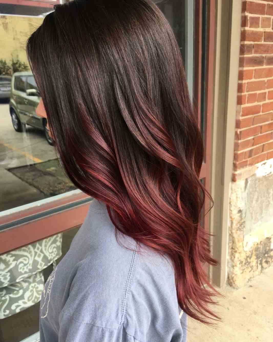 Balayage Rot Braun Pflegetipps lange Haare stylen Frisurenideen