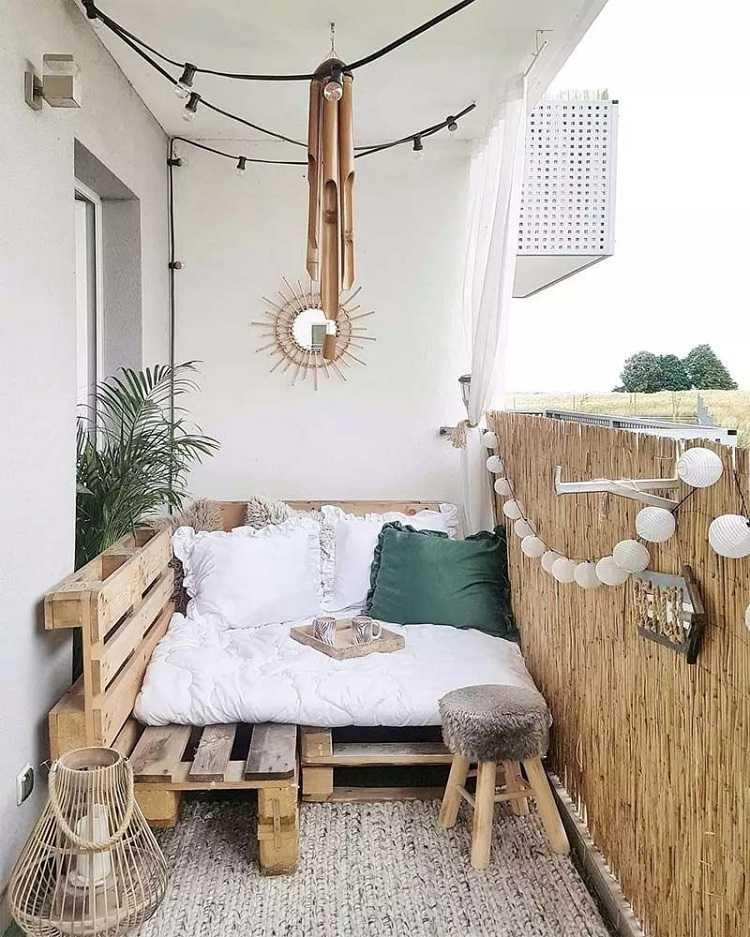 Balkon Liegefläche DIY Anleitung Wohnaccessoires Boho Wohnstil