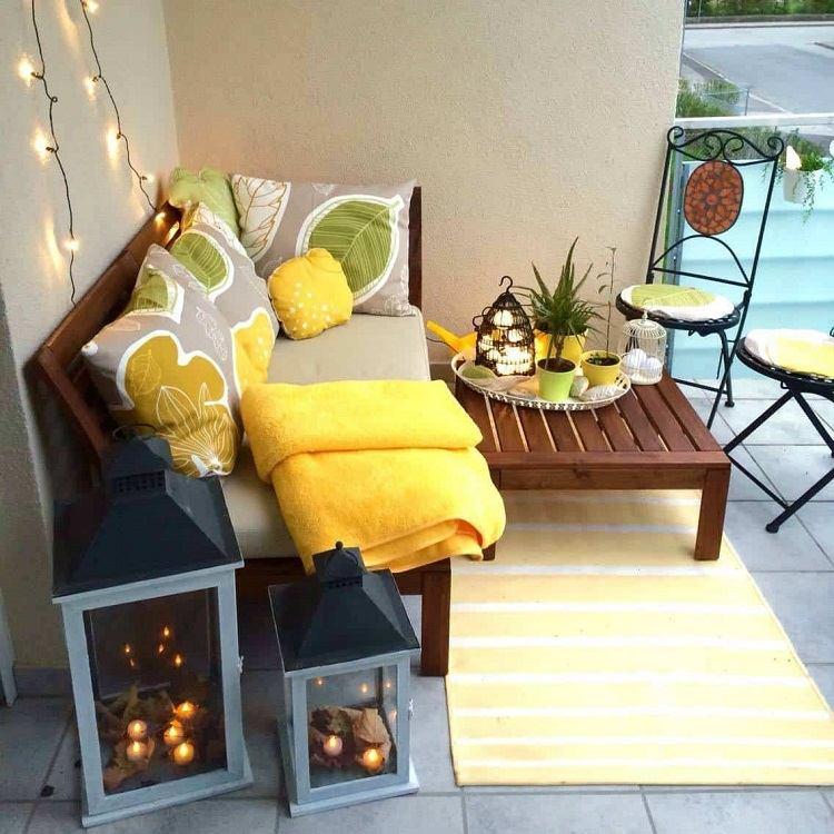 Balkon Lounge klein Außenbereich Möbel Trends Wohnaccessoires