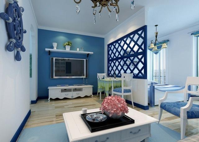 blaues-Wohnzimmer-Wohnen-Mediterran