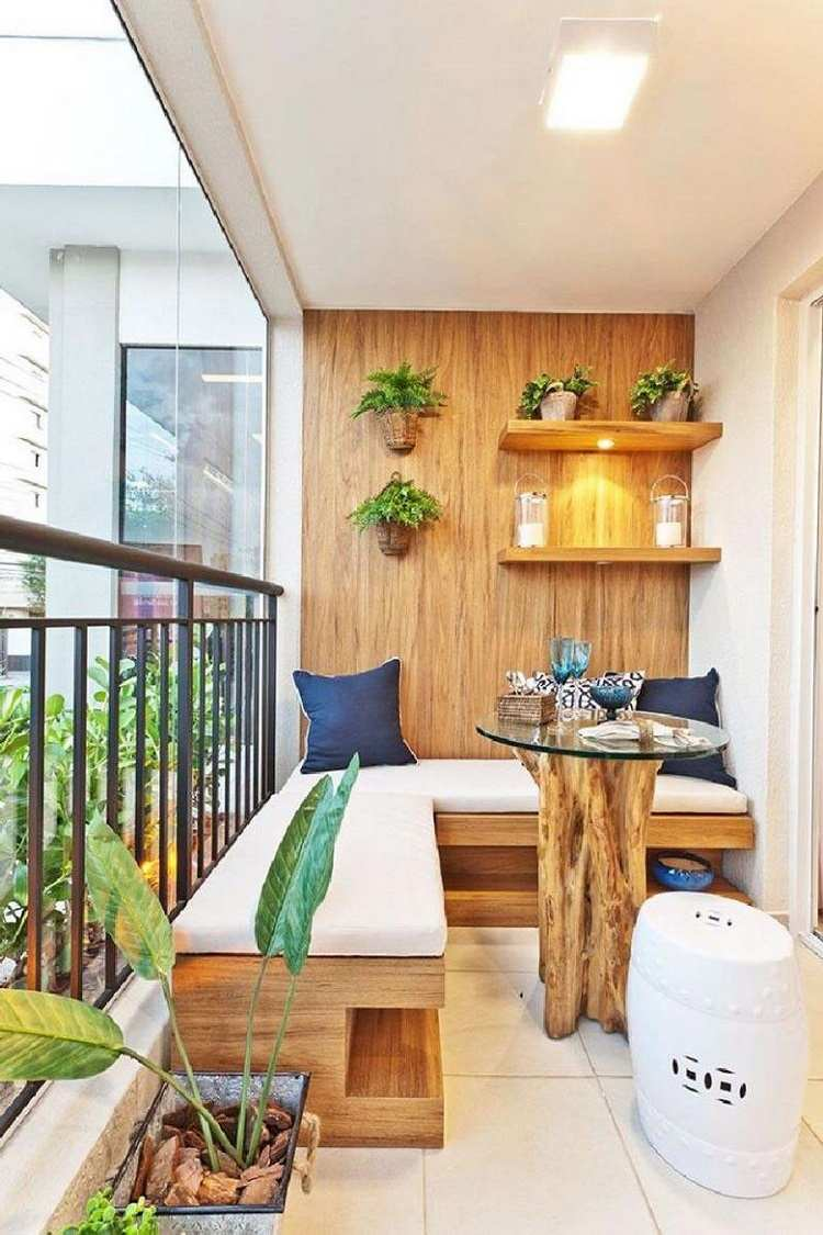 Boho Wohnstil Balkonmöbel Trends Balkon Lounge klein