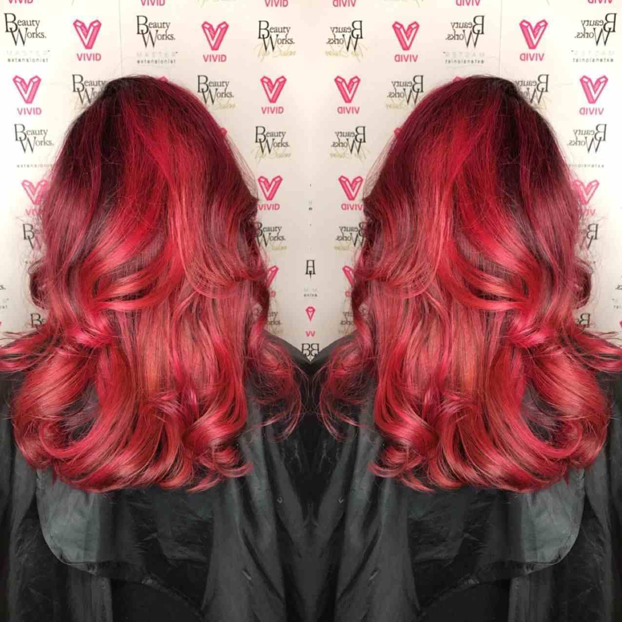 Bright Red Haarfarbe Haartrends Frauen Balayage Rot