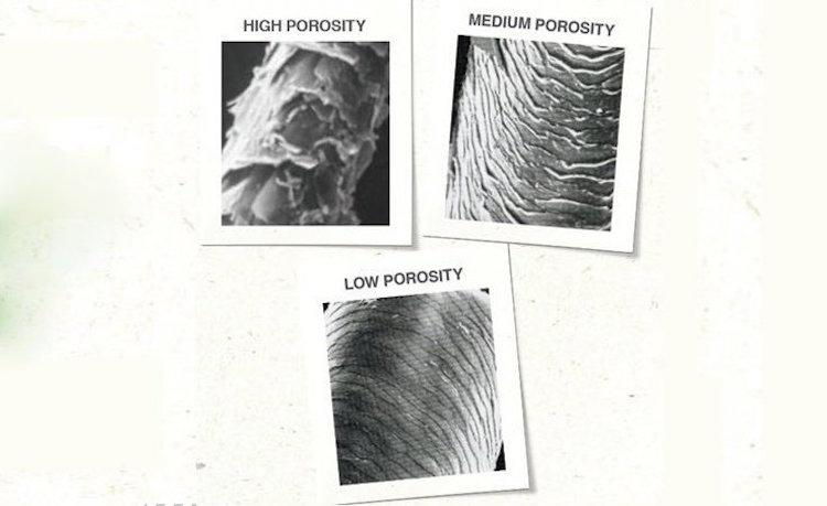 Feuchtigkeit für die Haare geringe und hohe Porösität