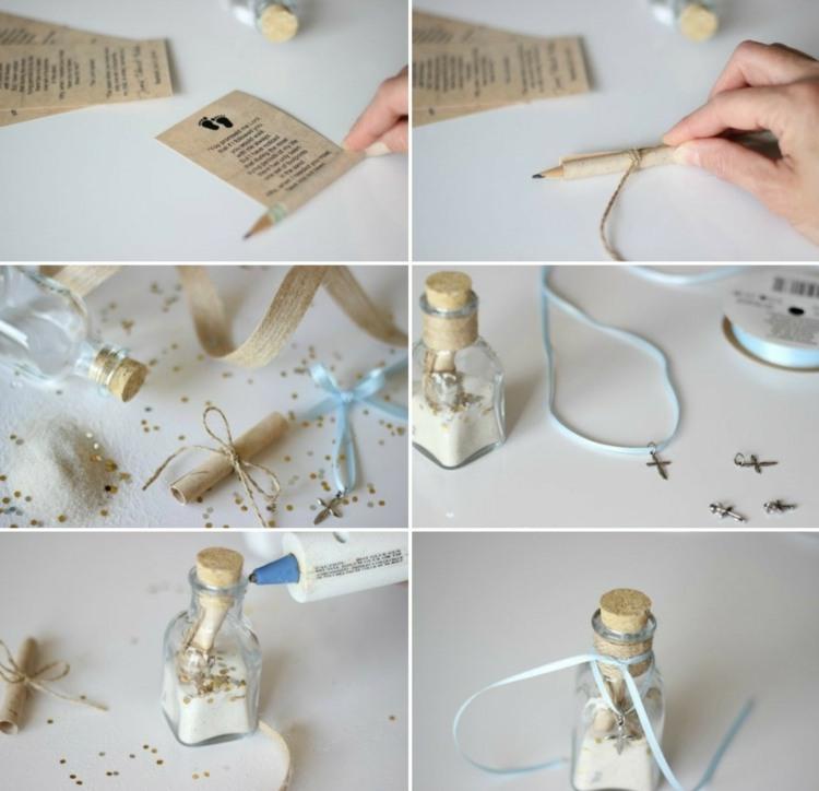 gastgeschenke zur taufe glitzer-kreuz-geschenk-seidenband-idee