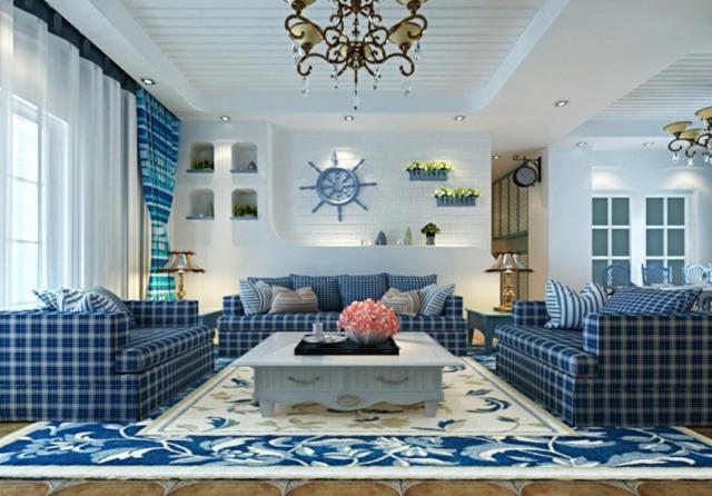 karierte-Möbel-gemusterter-Teppich-Farbe-Blau