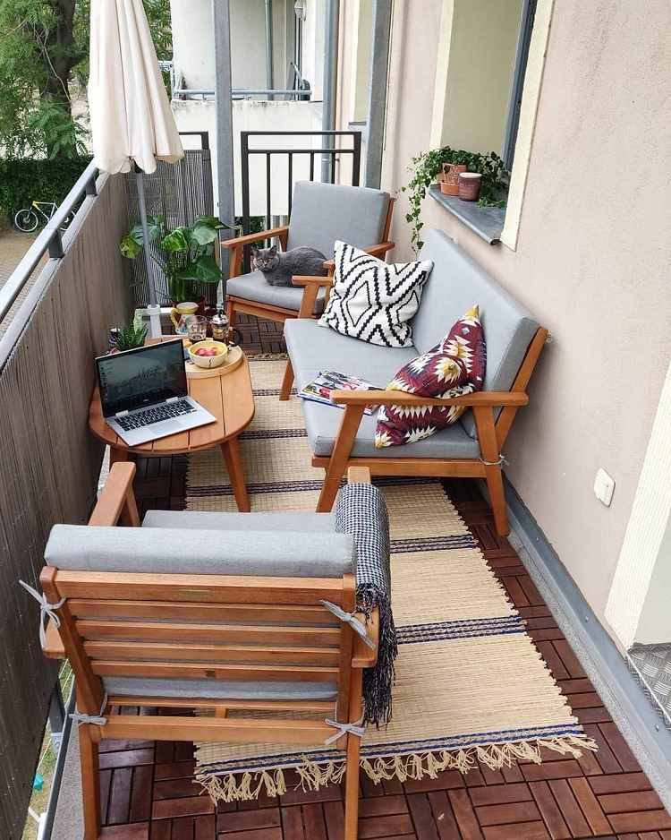 Kleine Lounge Ecke Balkon platzsparende Balkonmöbel
