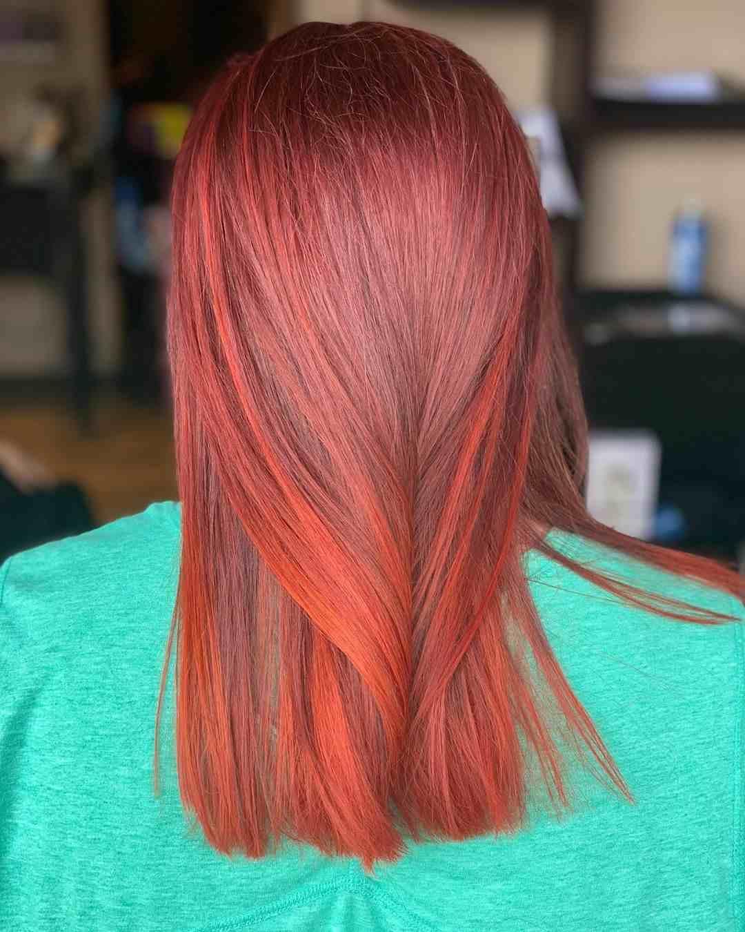 Kupferrot Balayage auf braune Haare Haartrends Frauen