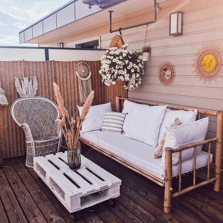 Lounge Möbel kleiner Balkon Kaffeetisch aus Paletten DIY