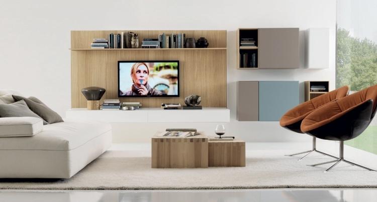 Moderne Wohnzimmermöbel ideen-wohnwand-matt-weiss-holzton
