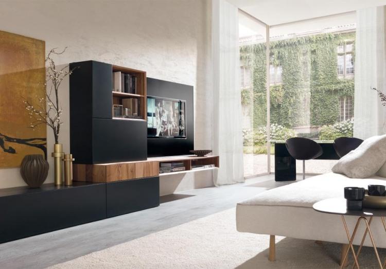 Moderne Wohnzimmermöbel ideen-wohnwand-schwarz-matt-holz-E45