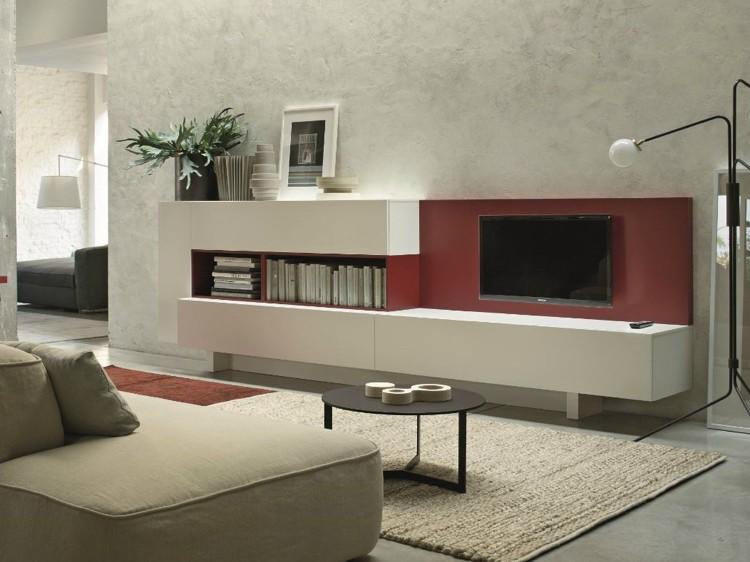 moderne-wohnzimmermoebel-stauraum-regaschrank-weiss-wandfarbe-rot-design-gestaltung