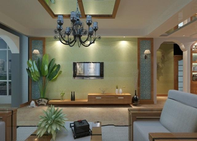 modernes-Wohnzimmer-mit-Holzmöbel-und-Polster