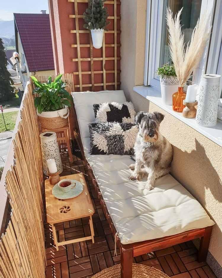 Platzsparende Balkonliege Balkon Lounge Möbel selber bauen