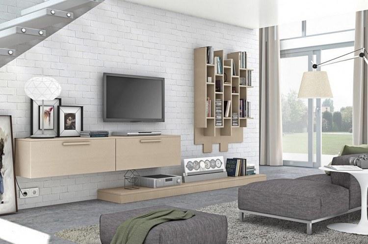 Schrankwand im Wohnzimmer beige-mdf-wandgestaltung-weisse-ziegelwand