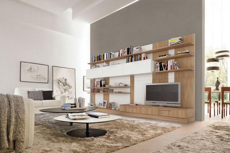 Schrankwand im Wohnzimmer buche-weiss-graue-wandfarbe