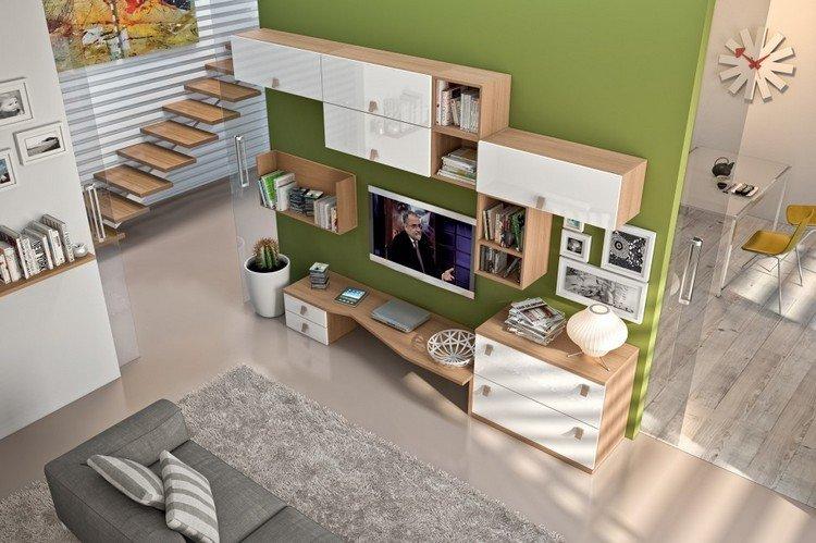 Schrankwand im Wohnzimmer buche-weiss-gruene-wandfarbe