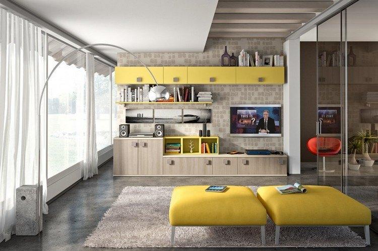 schrankwand-wohnzimmer-eiche-schrankfronten-gelbe-akzente