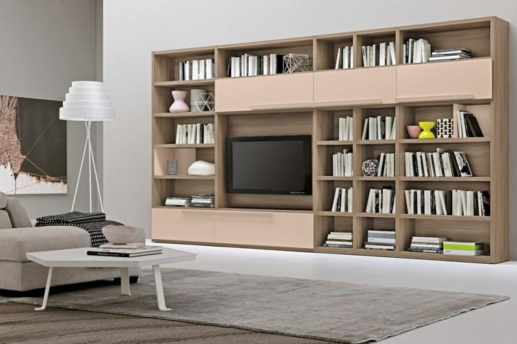 schrankwand-wohnzimmer-eichenholz-hell-rosa-fronten-buecherregale