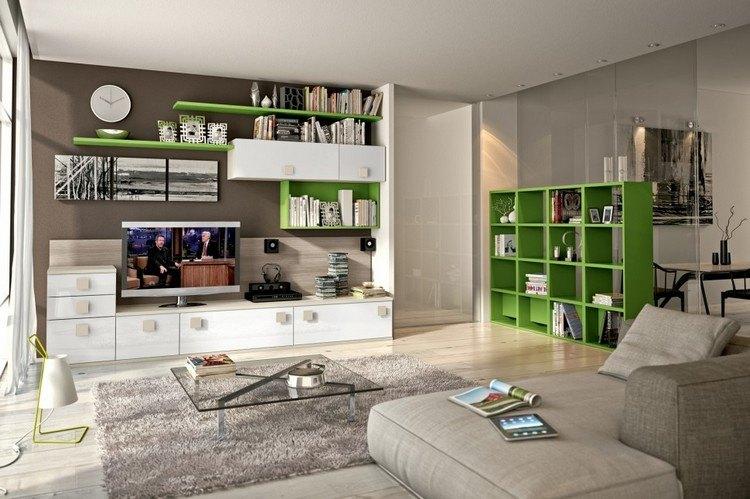 schrankwand-wohnzimmer-weiss-eiche-gruen-braune-wandfarbe