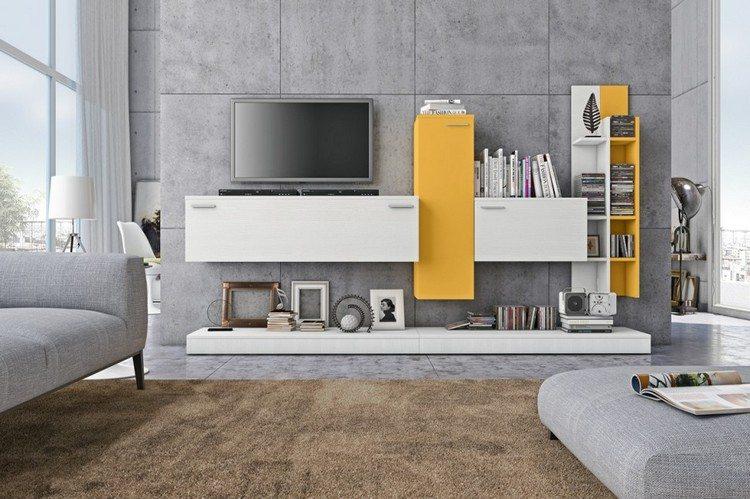 schrankwand-wohnzimmer-weiss-gelb-lineares-design