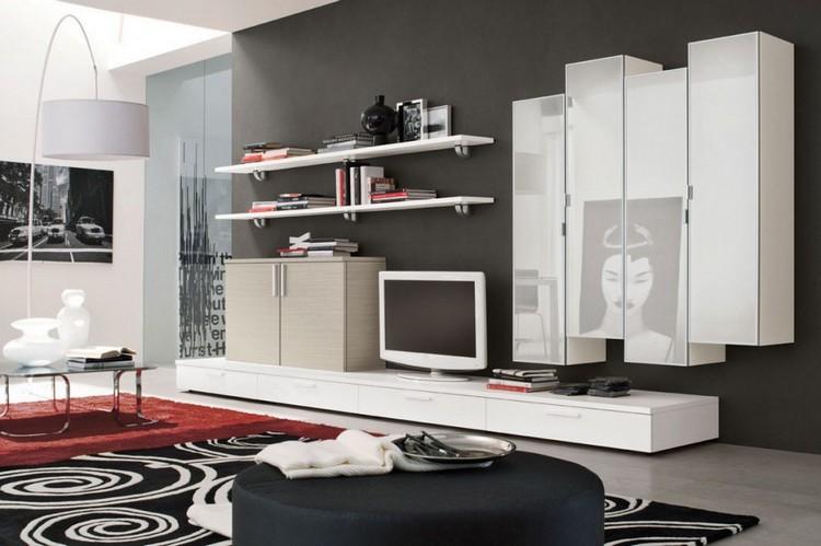 schrankwand-wohnzimmer-weiss-schiefergraue-wandfarbe