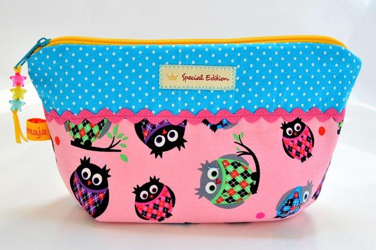 Textiletiketten gestalten DIY Geschenke verzieren Kosmetiktasche