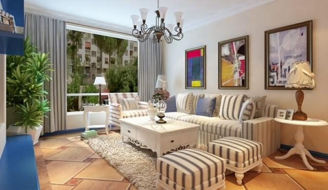 Wohnideen-Meditteran-mit-Stil-Stadtwohnung-gestreifte-Möbel