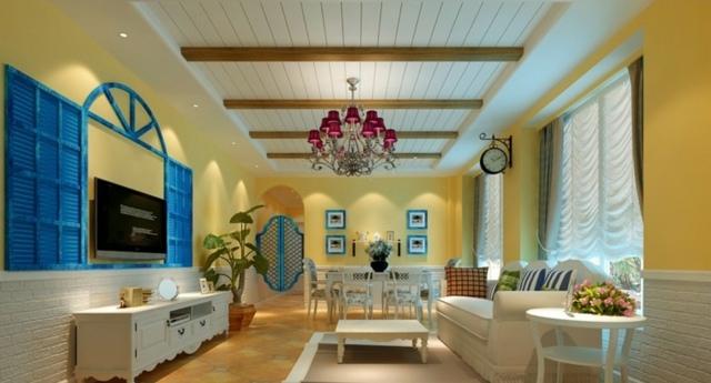 Wohnzimmer-Esszimmer-in-einem-blaue-Ornamente